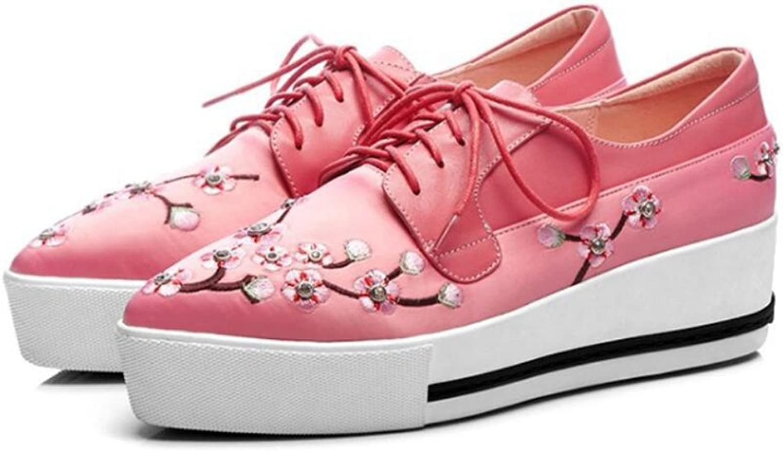 GAOLIXIA GAOLIXIA GAOLIXIA Damen Frühling Leder Bestickt High Heels Damen Lace Up Plateauschuhe Wedges Schuhe Aprikose Rosa schwarz  c1d05c