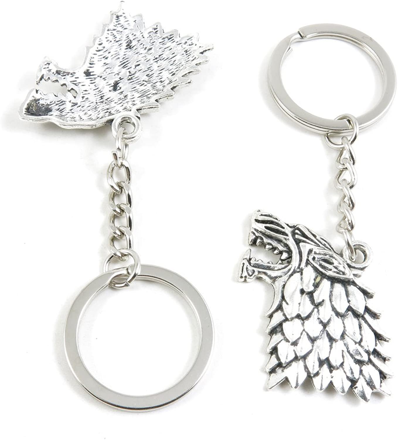 120 Pieces Fashion Jewelry Keyring Keychain Door Car Key Tag Ring Chain Supplier Supply Wholesale Bulk Lots F5UH1 Wolf Head