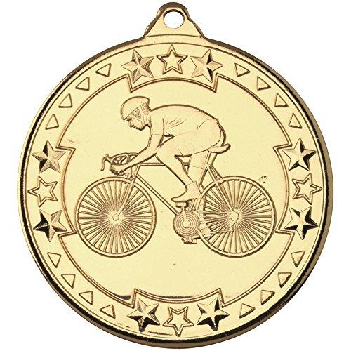 Medalla Tri Star para Ciclismo, Color Dorado, 5 cm
