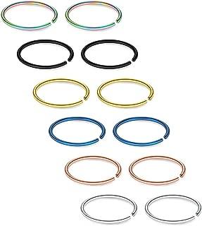 SCERRING 12-27PCS 22G Stainless Steel Fake Nose Septum Hoop Rings Lip Helix Cartilage Tragus Ear Ring Piercing 6-10mm