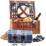 VonShef Cesta de Mimbre Tradicional para Picnic con Cubiertos, Platos, Copas, Vajilla y Manta de Lana 2 Personas