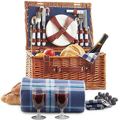 VonShef Panier de Pique-Nique Traditionnel en Osier pour 2 personnes - Accessoires de Picnic Inclus - Couverts, Assiettes, Verres et Plaid Étanche
