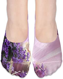 Calcetines Purple Flower Clipart Butterfly Fabulous Mocasines de corte bajo para mujer Calcetines invisibles para niña