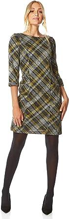 Roman Originals Vestido de cuadros para mujer, estampado de tartán, para invierno, elegante, para trabajo, oficina, informal, fiesta formal, cómoda túnica, manga 3/4 hasta la rodilla