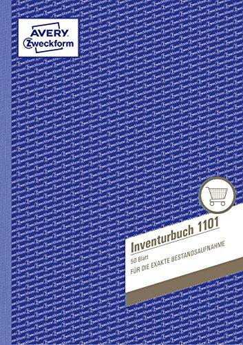 AVERY Zweckform 1101 Inventurbuch (A4, 50 Inventurformulare, mikroperforiert und 4-fach gelocht, zur regelmäßigen und exakten Bestandsaufnahme, hand- und schreibmaschinengerechter Zeilenabstand) weiß