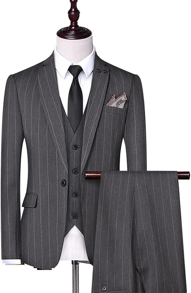 ZYKBB (Suit + Vest + Pants) Male Korean Version Slim Business Casual Suit Suit Striped Suit/Wedding Suits for Men (Color : Gray, Size : 4XL 81-85kg)