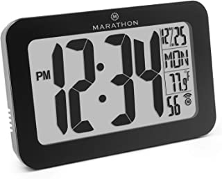 Marathon CL030033BK Commercial Grade Panoramic Atomic Wall Clock with Table Stand - Batteries Included (Black)