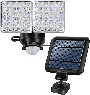 Lámpara exterior de seguridad con energía solar, lámpara de sensor de movimiento súper brillante de 1200LM, 2 cabezas de luz ajustables con 44 focos LED para jardín, patio, garaje, etc.