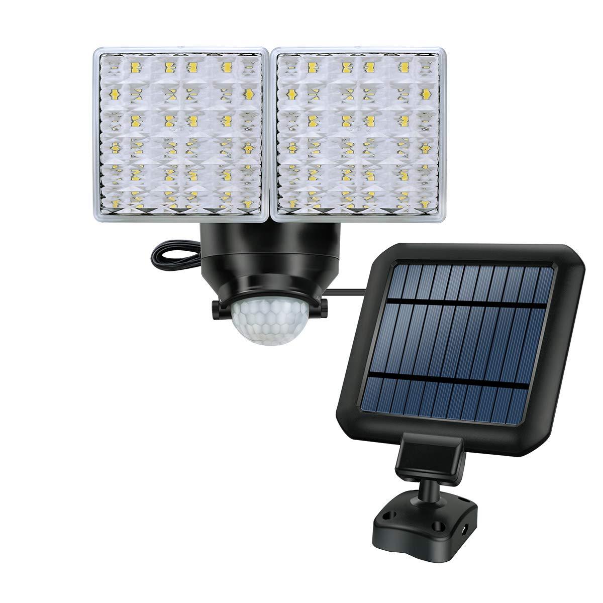 Lámpara exterior de seguridad con energía solar, lámpara de sensor de movimiento súper brillante de 1200LM, 2 cabezas de luz ajustables con 44 focos LED para jardín, patio, garaje, etc.: Amazon.es: Iluminación