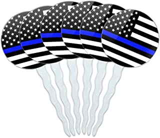 GRAPHICS & MORE Thin Blue Line American Flag Cupcake Picks Toppers Decoration Set of 6