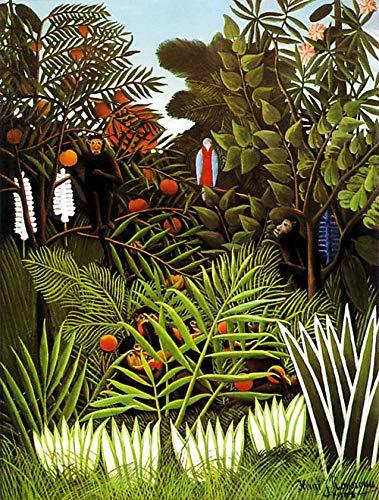 Paysage exotique par Henri Julien Rousseau. 100% peint à la main. Reproduction de haute qualité. Livraison gratuite (non encadrée et non étirée). Taille de la peinture: 111,8 x 147,3 cm.