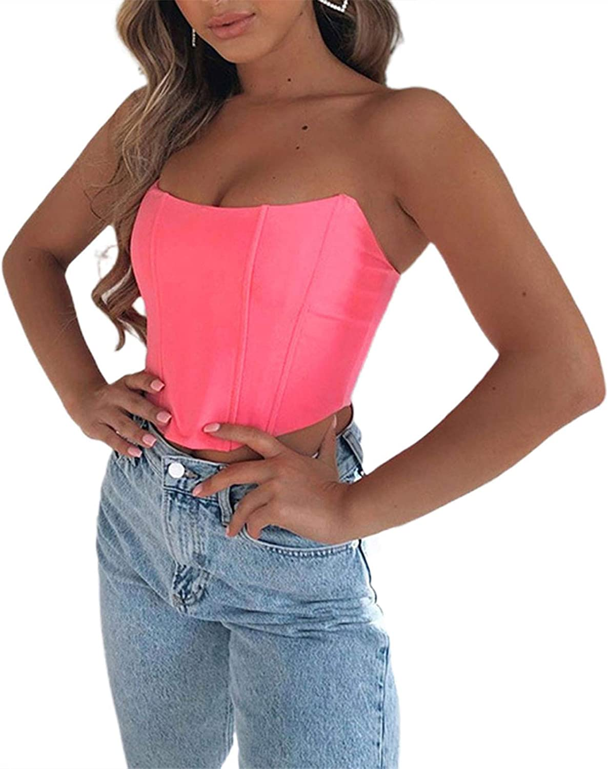 Women Bustier Corset Sexy Solid Color Tight Boned Strapless Back