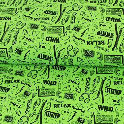 Jersey Stoff neon Rock & Roll neongrün Totenköpfe Gitarre Kopfhörer Kinderstoffe Öko-Tex - Preis gilt für 0,5 Meter