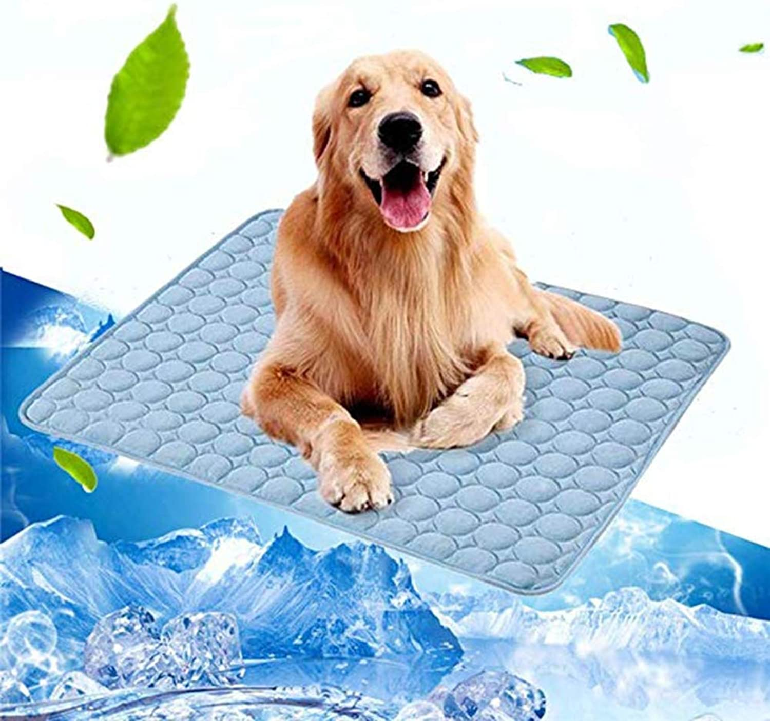 Pet Dog Self Cooling Mat Pad, Washable Ice Silk Pet Cooling Blanket, Summer Cool Comfort for Cats and Dogs Home and Travel, Car Seats, Crates and Beds,bluee,M
