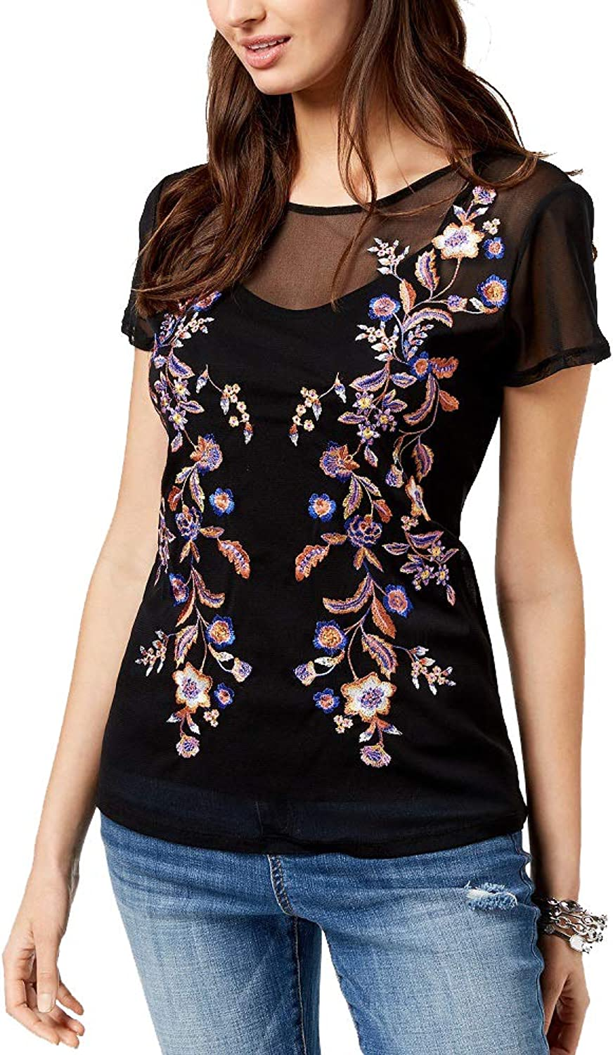 INC International Concepts I.N.C. Embroidered Mesh Top