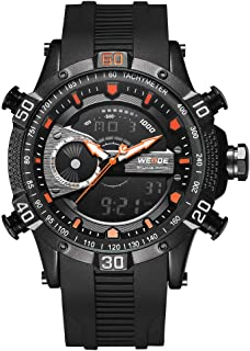 Lixada WEIDE Dual Display Two Movement Quartz Digital Men Watch 3ATM Waterproof LCD Backlight Sport Alarm Calendar Week Auto Date Stopwatch Timer 24 Hours Wristwatch with Luminous Pointers Hands PU