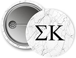 Sigma Kappa Sorority Light Marble with Black Letters Pin Back Badge 2.25-inch Button Sig Kap