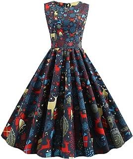 UONQD Women Christmas Snowflake Evening Dress ,Round Collar Vintage Gift Print Dress