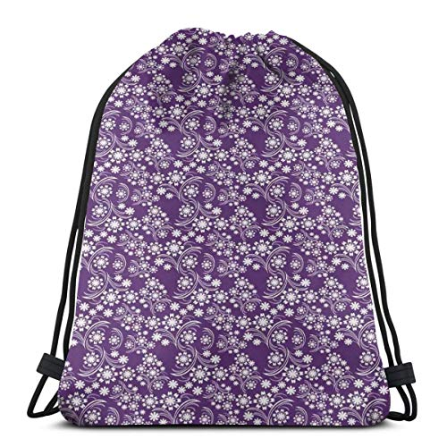 DPASIi Drawstring Shoulder Backpack Travel Daypack Gym Bag Sport Yoga,Abstract Garden Art With Continuous Curvy Wavy Stems And Petals Print,5 Liter Capacity,Adjustable.