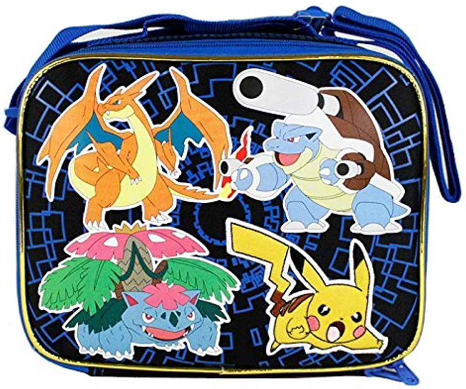 2015 Pokemon Pikachu Black Blue School Lunch Bag