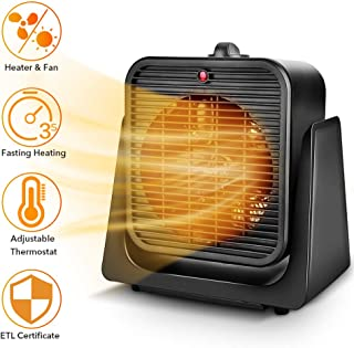 2 in1 Portable Space Heater - Quiet Combo Ceramic Electric Personal Fan, Fast Heating, Overheat & Tip-over Protection Air Circulating for Office Desk Bedroom Home Indoor Use