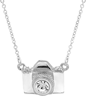 SpinningDaisy Silver Plated White Camera with Crystal Lens Camera Necklace