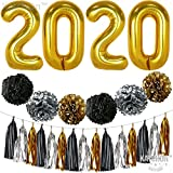 2020 Balloons, Gold for New-Year, Large, 40 Inch | Black Gold and White Paper Pompoms and Tassel Kit | New Years Eve Party Supplies 2020 | Graduations Party Supplies 2020, New Years Party Decorations