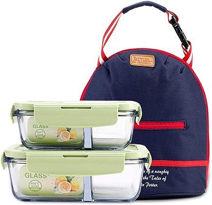 500 ml + 750 ml SGHTYJ Lunch box Fiambrera Caja de almacenamiento de vidrio Caja de almuerzo de microondas Caja de almuerzo de dos piezas Paquete de regalo separado