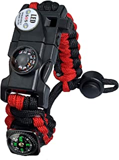 Paracord Survival Bracelet Kit Adjustable with Flint fire Starter + Compass + Thermometer + Whistle + Umbrella Rope + LED ...