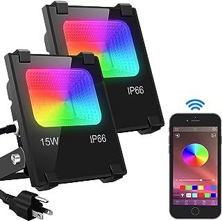 Led Flood Light 100W Equivalent, Outdoor Color Changing Led Stage Landscape Lighting, RGB..