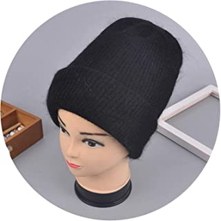 Women Winter Hats Beanies Knitting Rabbit Wool Fur Hat Female Real Fur Skullies Caps Gorros Solid Color