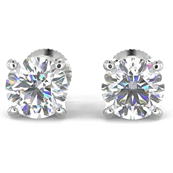 Natural Real 1 Carat TW 14k White Gold Diamond Studs with Screw Back Earrings (K-L Color, I1 Clarity, Eye Clean). Extra Secure
