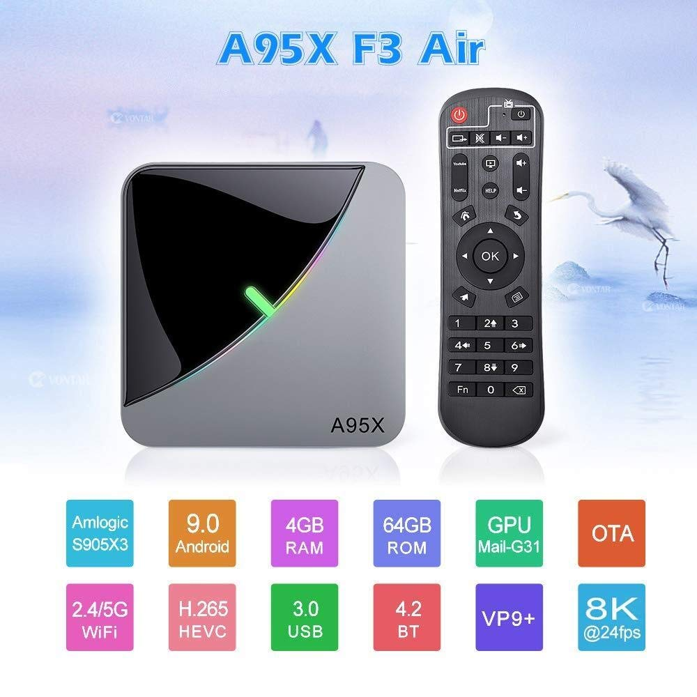 DLYGH A95X-F3-Aire S905X3 8K HD Reproductor de vídeo 2 + 32G Smart TV Box IPTV Red Set Top Box/STB Android Caja: Amazon.es: Electrónica