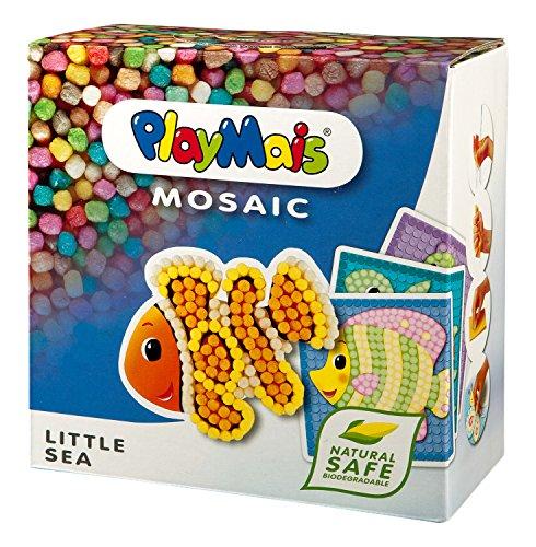 PlayMais MOSAIC Little Sea Kreativ-Set zum Basteln für Kinder ab 3 Jahren | Über 2.300 PlayMais & 6 Mosaik Klebebilder mit Meerestieren | Fördert Kreativität & Feinmotorik | Natürliches Spielzeug
