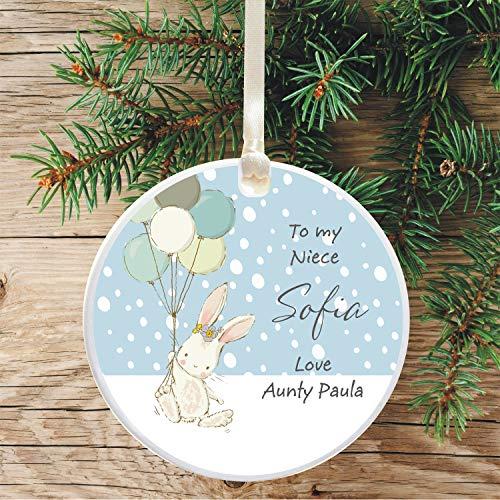 DKISEE Gepersonaliseerde keramische kerstboom decoratie voor een niece Holiday ornament geschenk van oncle/Auntie Bunny Balloon Design 3 inch