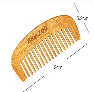 Blesiya Beard And Hair Comb 100% Natural Bamboo Comb Brush Travel Pocket Size Combs for Curly & Straight,Long & Short,Thick & Thin,Dry & Wet
