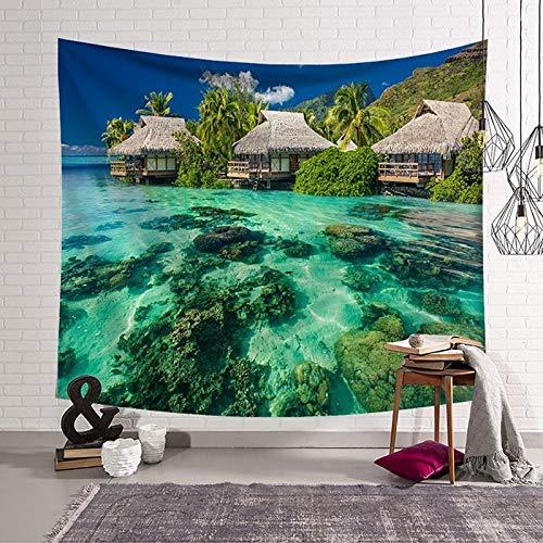 WERT Tapiz de patrón de árbol de Coco impresión de una Cara Manta de Pared impresión 3D Toalla de Playa Tapiz de impresión Digital A7 180x200cm