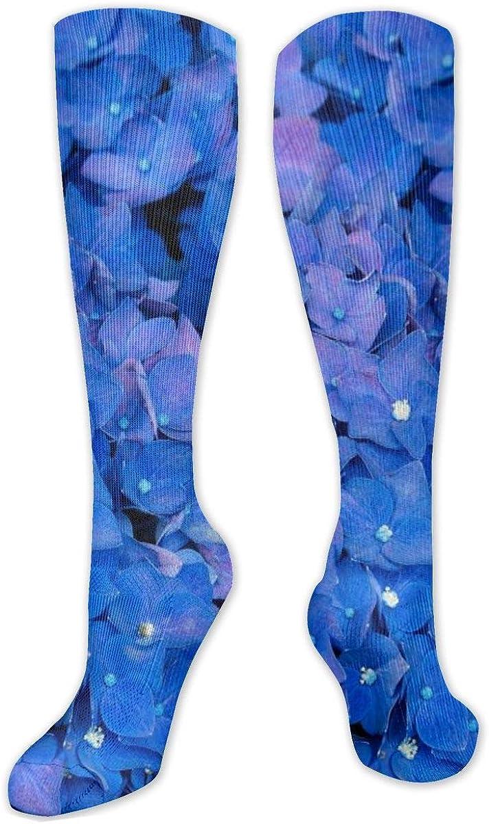 Blue Flowers Knee High Socks Leg Warmer Dresses Long Boot Stockings For Womens Cosplay Daily Wear