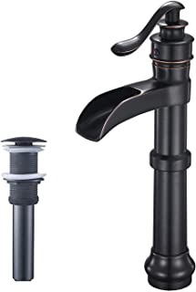 Aquafaucet Waterfall Spout Single Handle Lever Hole Commercial Bathroom Sink Vessel Faucet Oil Rubbed Bronze