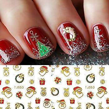 Christmas Nail Stickers - 380PCS 3D Metal Gold Xmas Design Self-adhesive Nail Decals Bronzing Snowflakes Snowmen Santa Xmas Tree Nail Art Stickers Tips Stencil DIY Decoration for Women Kids 10 Sheets