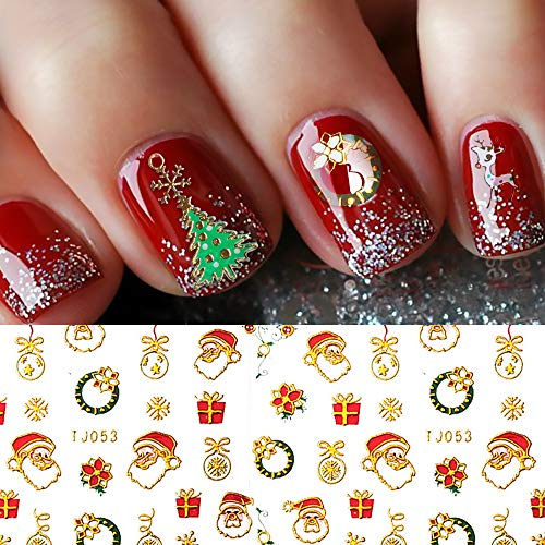 Christmas Nail Stickers - 380PCS 3D Metal Gold Xmas Design Self-adhesive Nail Decals, Bronzing Snowflakes Snowmen Santa Xmas Tree Nail Art Stickers Tips Stencil DIY Decoration for Women Kids(10 Sheets)