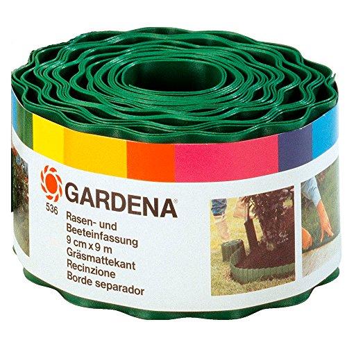 Gardena Raseneinfassung 9 cm hoch: Ideale Rasen-Abgrenzung, auch für Beete, 9 m, verhindert Wurzelausbreitung, hochwertiger Kunststoff, grün (536-20)