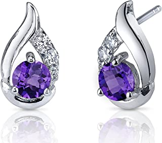 Radiant Teardrop 1.00 Carats Amethyst Earrings Sterling Silver