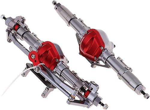 B Blesiya Metall Vorder Hinter Achsen Vorderachsen Hinterachsen Set für 1 10 Axial SCX10 D90 RC Crawler - Silber + Rot