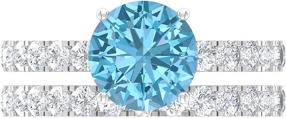 Gold Bridal Ring Set 8.00 Max 63% OFF MM R Aquamarine Created Lab Solitaire Ranking TOP9