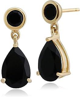 Gemondo de Mujer 375 Oro 9CT Oro Amarillo Pera Onix Clásico Dos Piedras Pendientes Negro