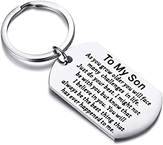 AKTAP Inspirational Keychain Gifts to My Son Keychain You Will Always Be The Best Thing That Has Ever Happened to Me Graduation Gifts for Him