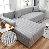 Fundas de sofá Chaise Longue para Sala de Estar Fundas de sofá elásticas Fundas elásticas de Esquina en Forma de L Funda de sofá A22 1 Plaza