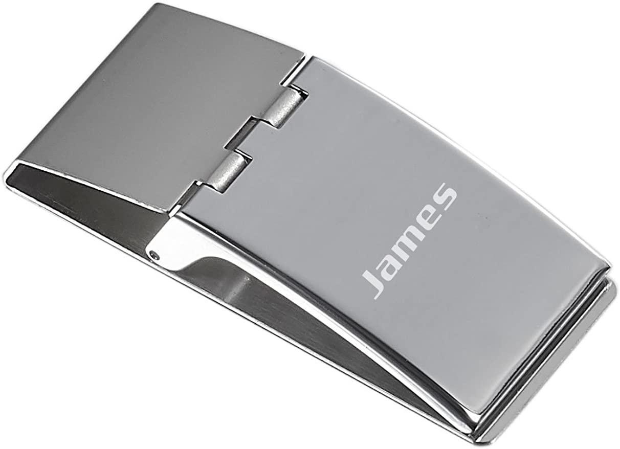 Visol Andrew Chrome Plated Stainless Steel Money Clip with Clamp Shut Lid With Free Laser Engraving