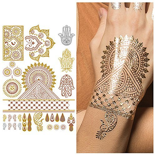 Tattify Metallic Hamsa And Indian Handpiece Temporary Tattoo - Indian Princess Sheet 2 (Set of 1 sheet) - Other Styles Available - Fashionable Temporary Tattoos